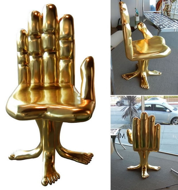 Gold hand and foot chair created by pedro friedeberg for Design stuhl leisure