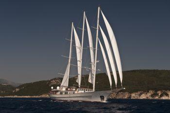 Montigne under sail off the west coast of Corfu