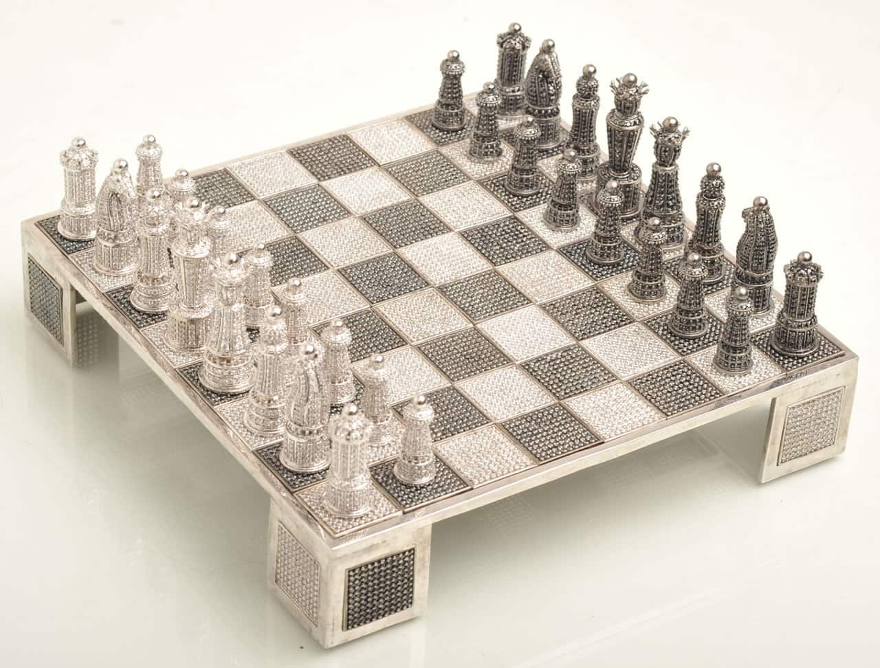 Swarovski encrusted chess set by jewel cast techno - Most expensive chess board ...