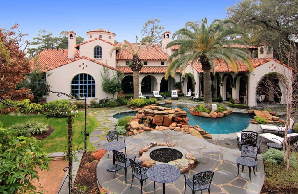Gated Mediterranean Mansion In Houston Texas