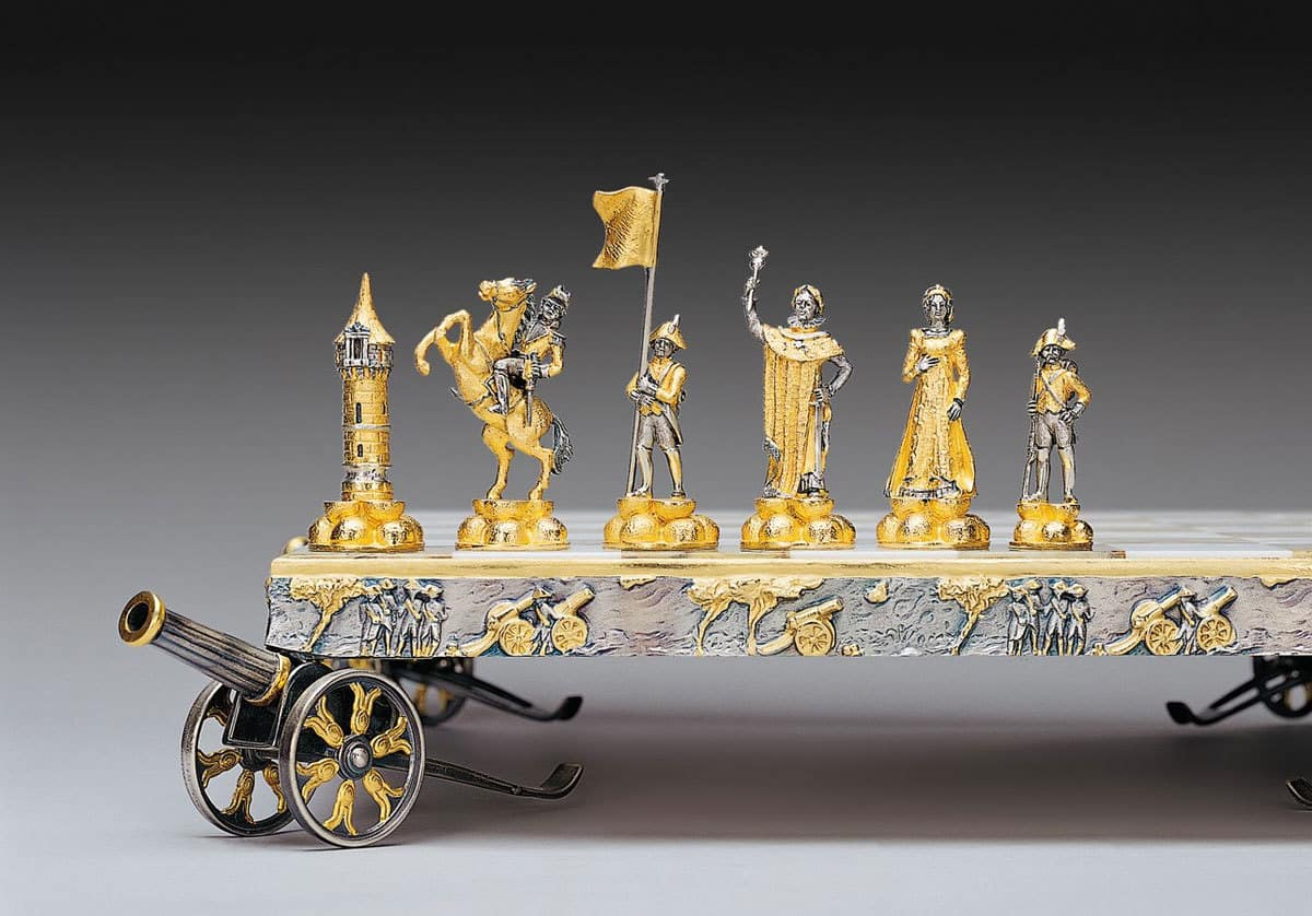 Gold Plated And Silvered Chess Sets By Piero Benzoni