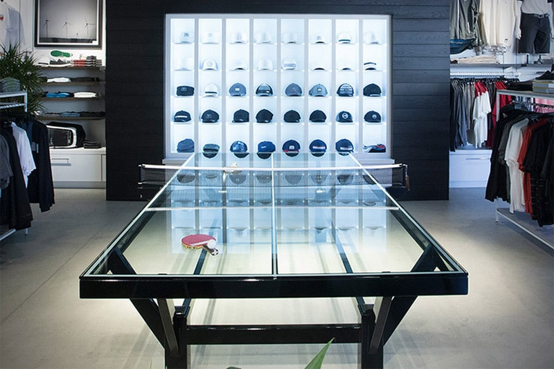 The Travismathew Glass Top Ping Pong Table