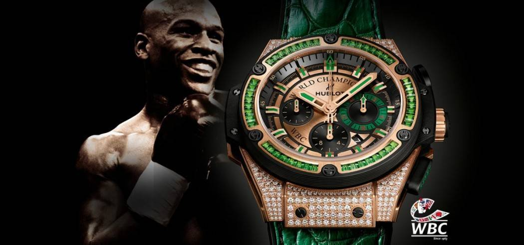 hublot boxing star again watch mirror poses splashes sport encrusted mayweather his the online splurges with floyd on as cash diamond watches