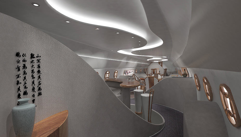 Private Boeing Business Jet Cabin Gets A Feng Shui Feel