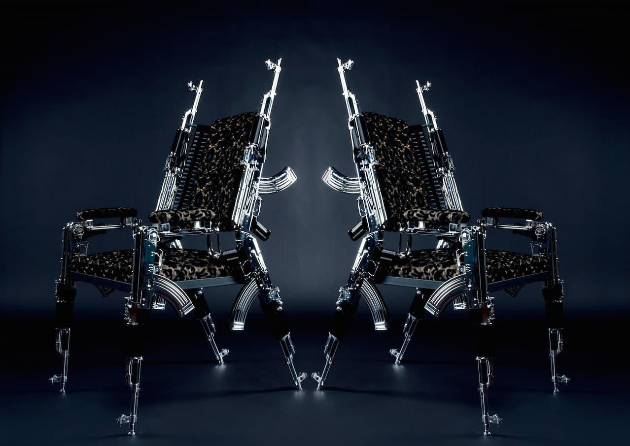 Artist rainer weber designs the very first ak47 chair for Weber designs