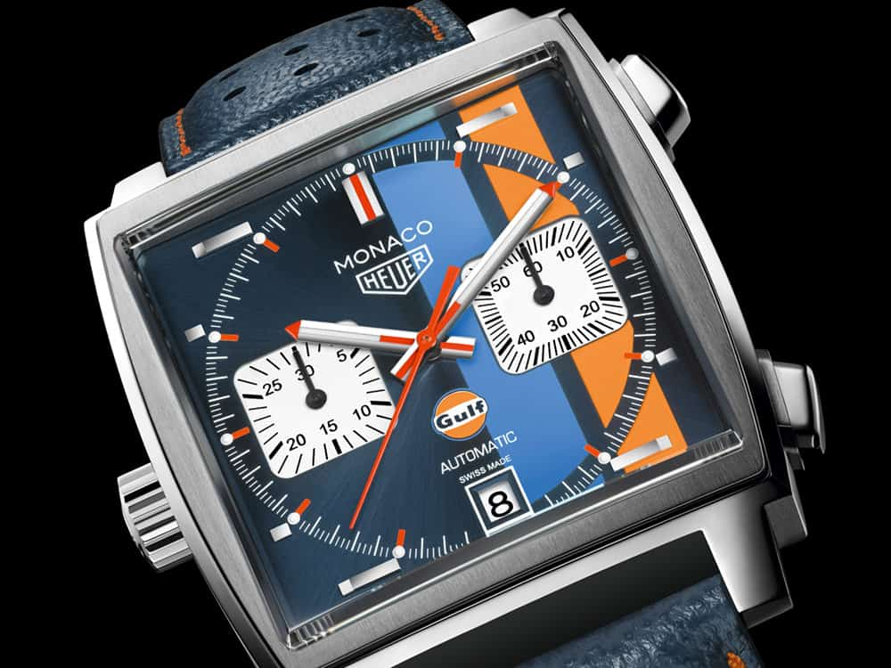 tag heuer 39 s monaco gulf special edition honors steve mcqueen. Black Bedroom Furniture Sets. Home Design Ideas