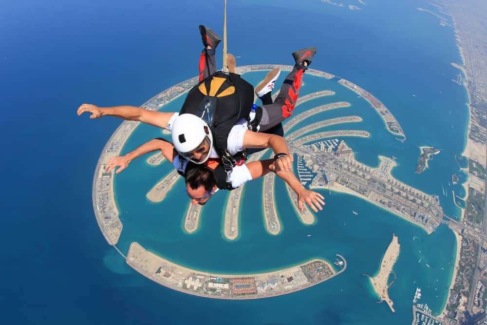 Sky diving over Dubai