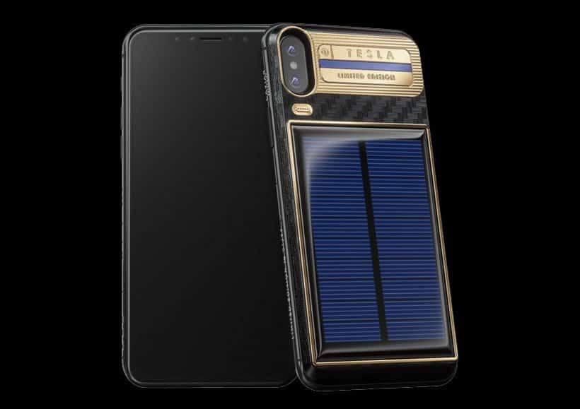 caviar 39 s tesla limited edition iphone x is golden in our books. Black Bedroom Furniture Sets. Home Design Ideas