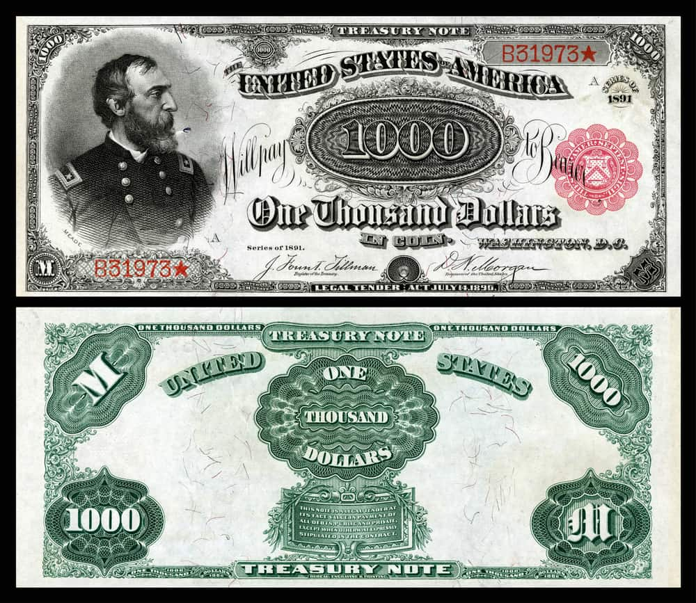 1891 US Red Seal $1,000 bill