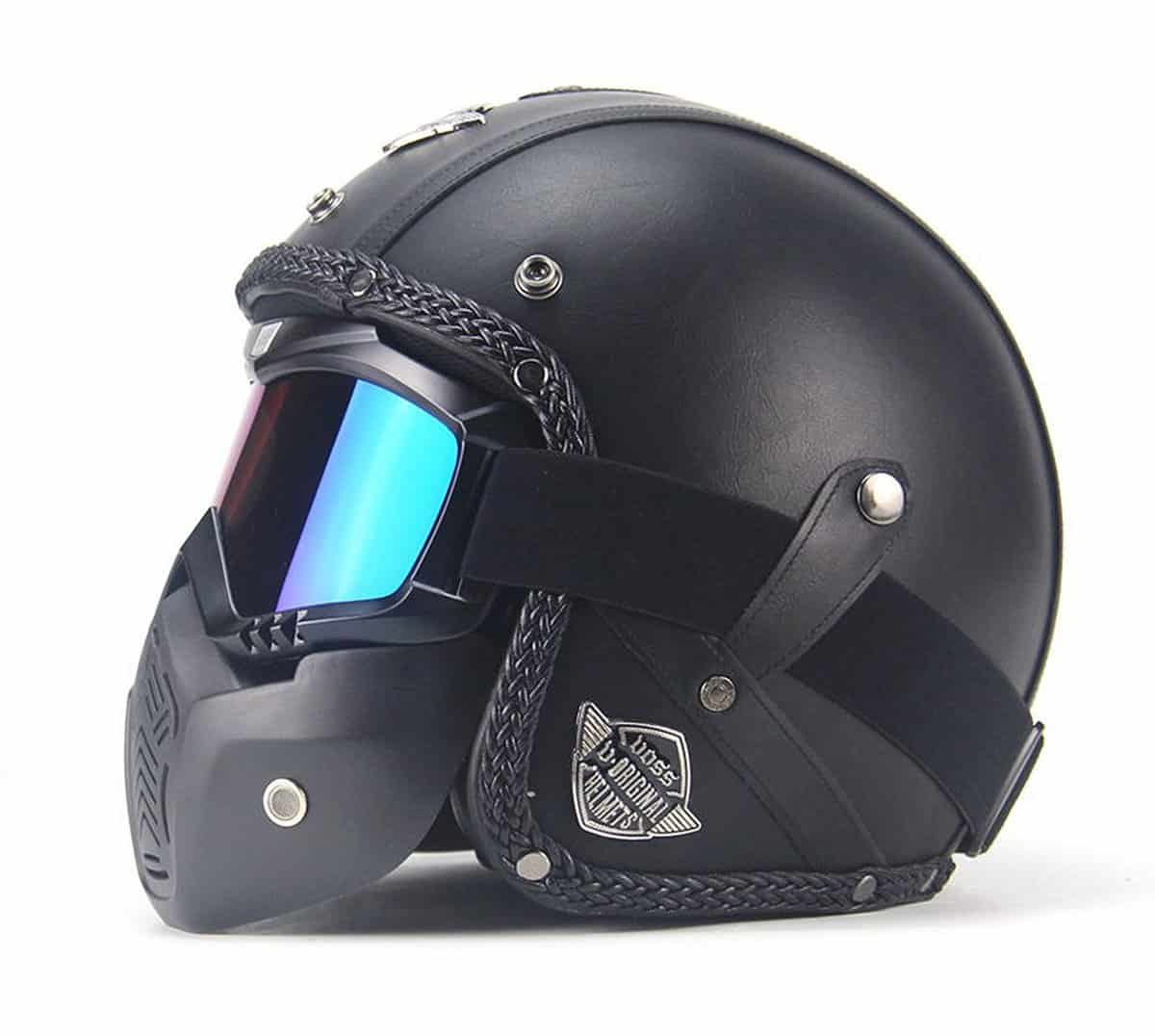 AUTOPDR Open Face Vintage Motorcycle Helmet with Goggles Mask