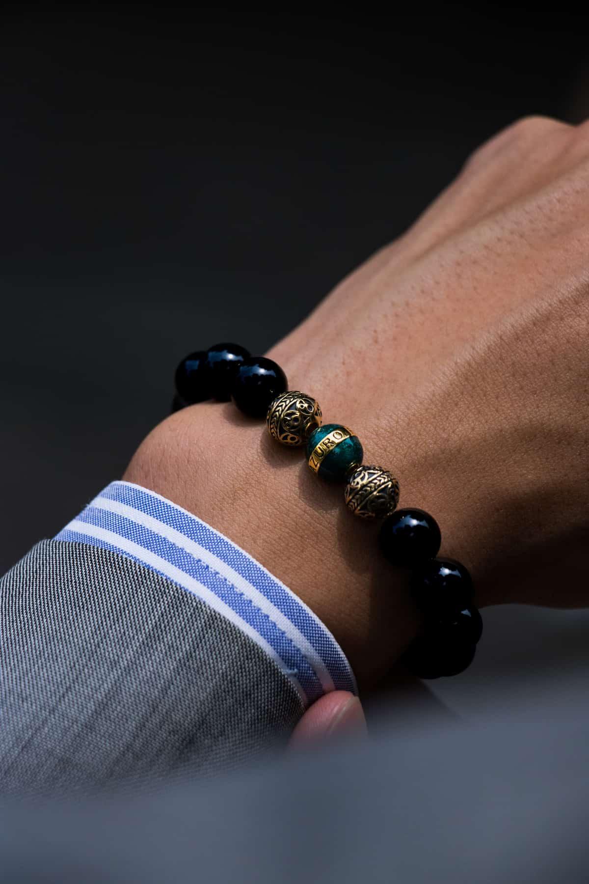 Gold Enamel Turqoise Obsidian 3
