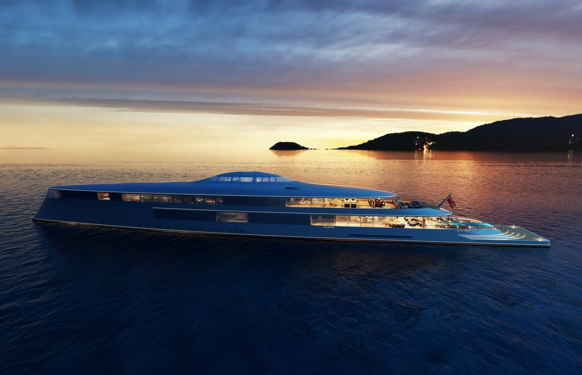 AQUA 112m is a Futuristic Hydrogen-Powered Superyacht from Sinot
