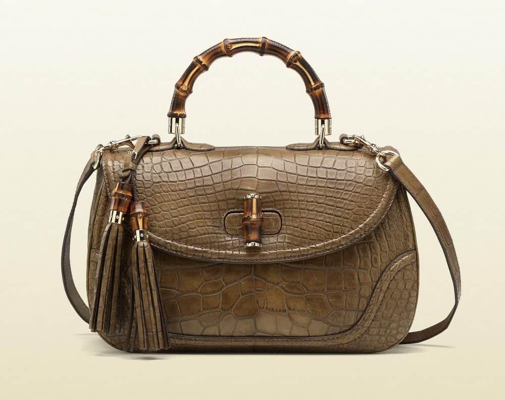 Gucci Crocodile Tote Bag with Bamboo Handle