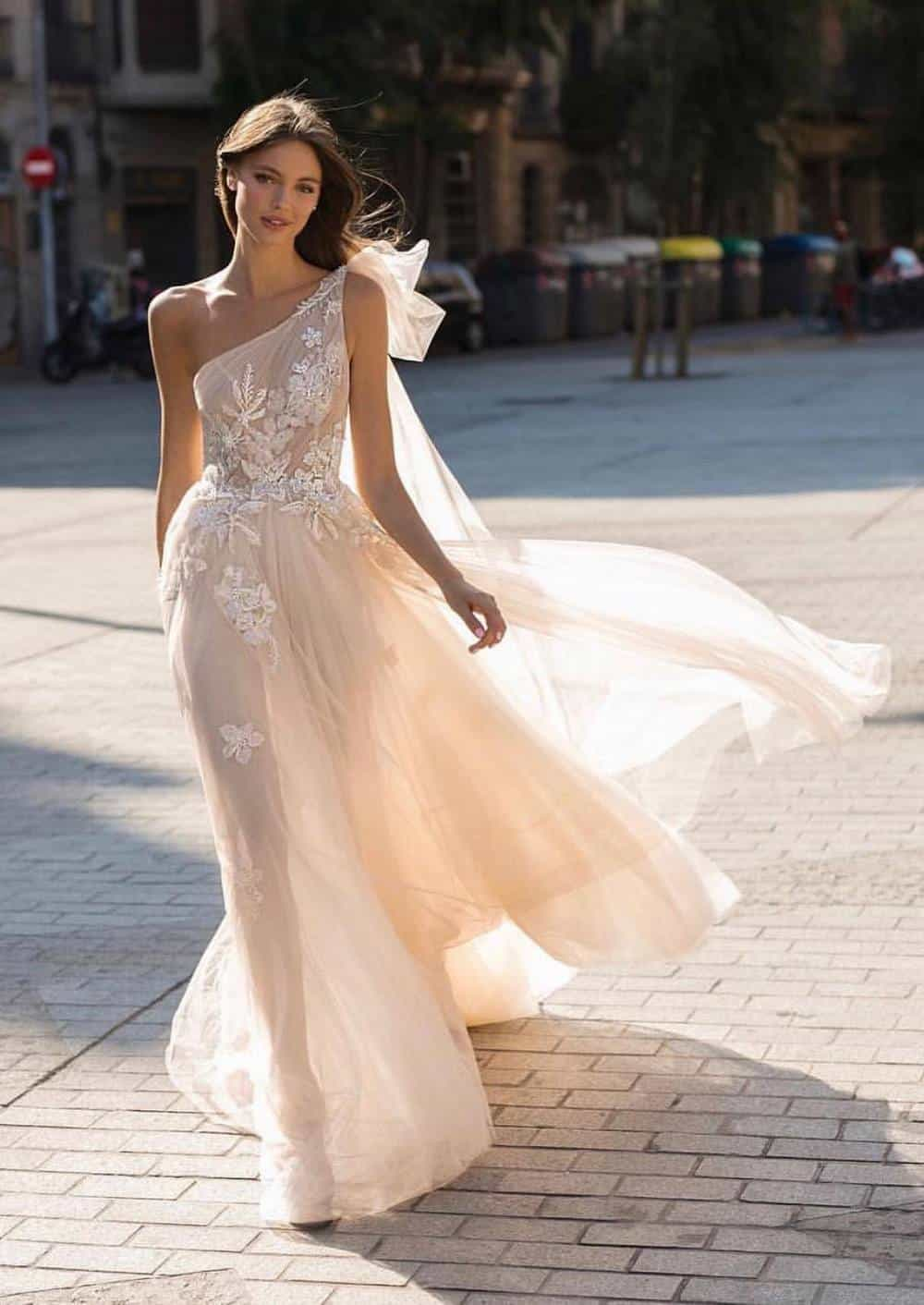 One Shoulder Neckline wedding dress