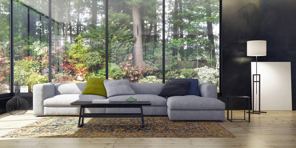 living room glass walls