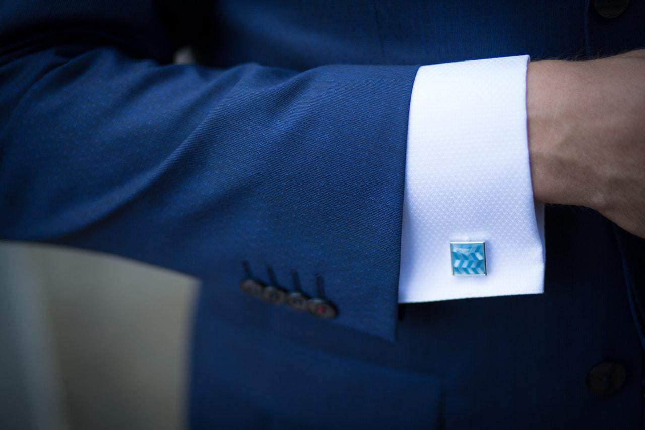 blue suit sleeve