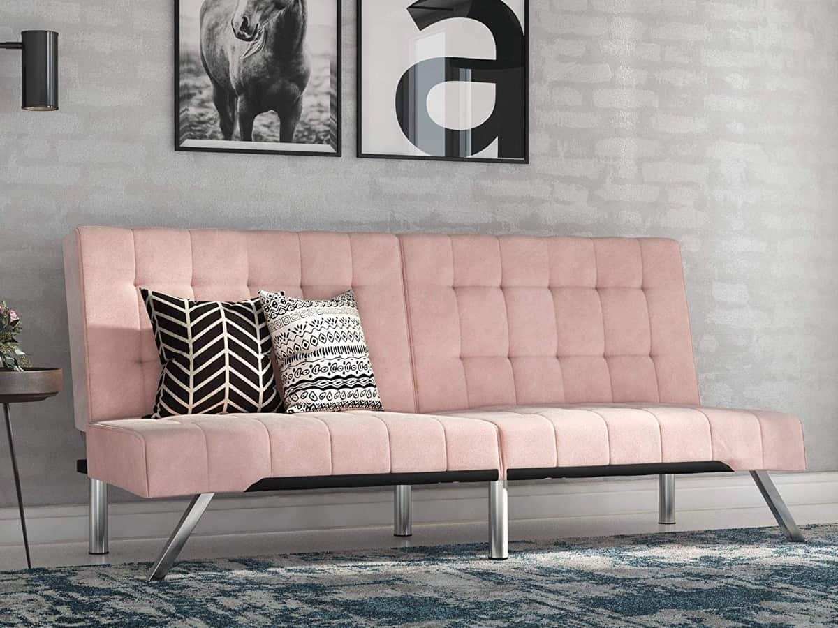 Pastel Pink Tufted Sofa Bed