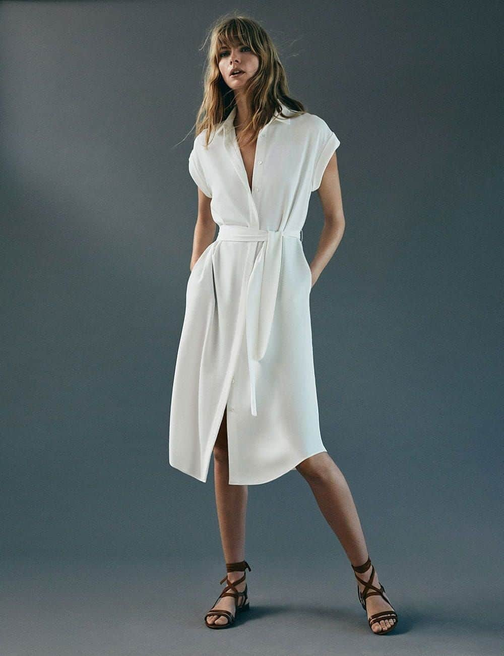 Massimo Dutti simple white dress