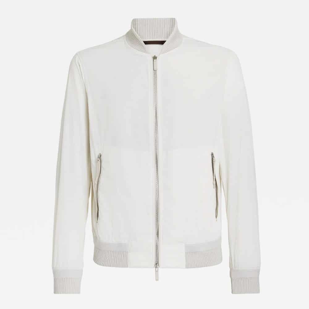 Ermenegildo Zegna White Bomber Jacket