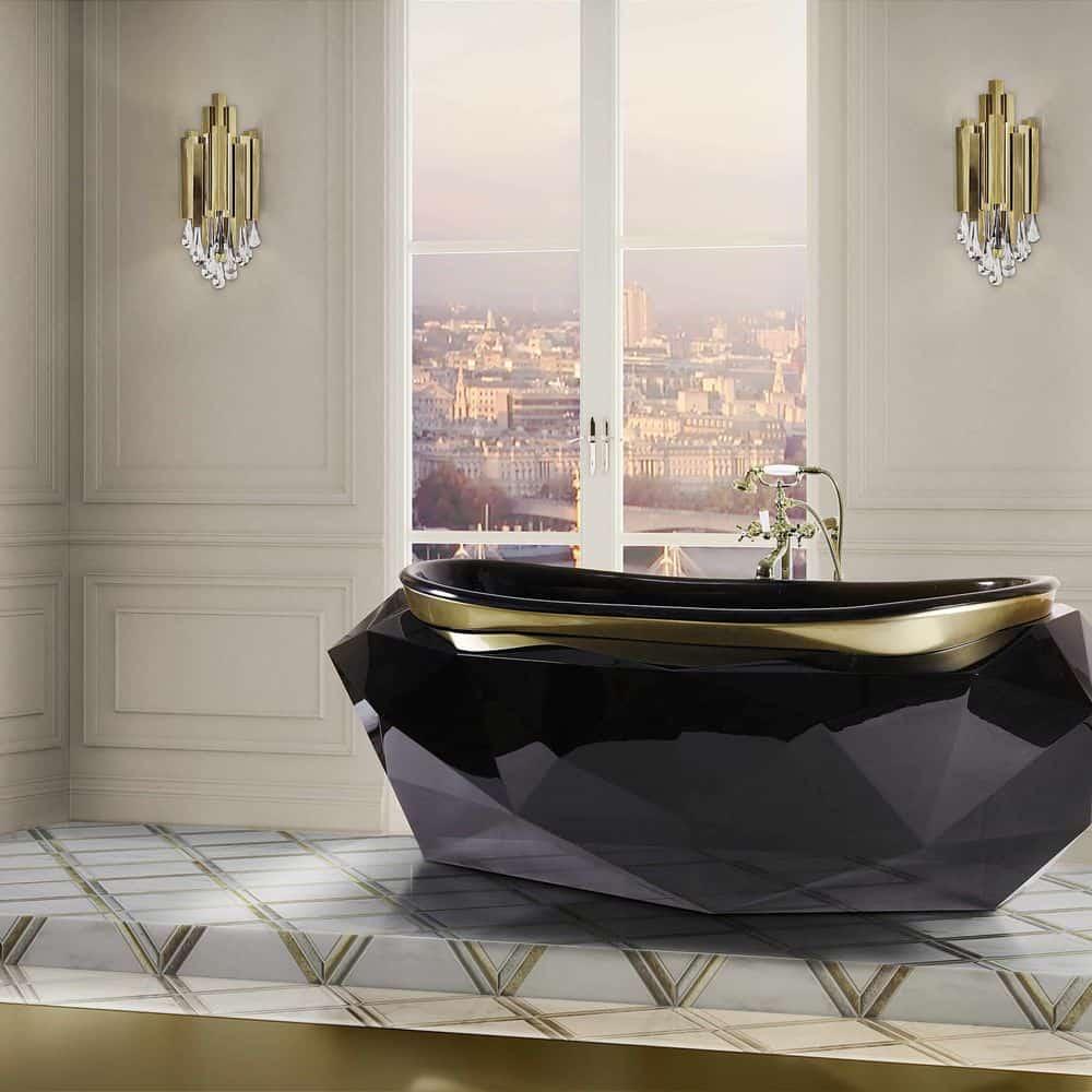 Black Marble Diamond Tub