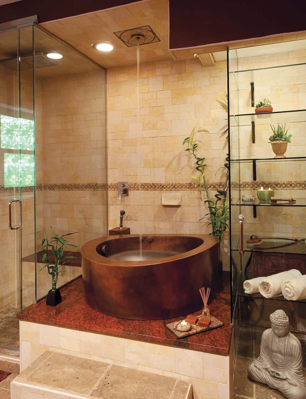 Copper Circular Japanese Whirlpool Bath