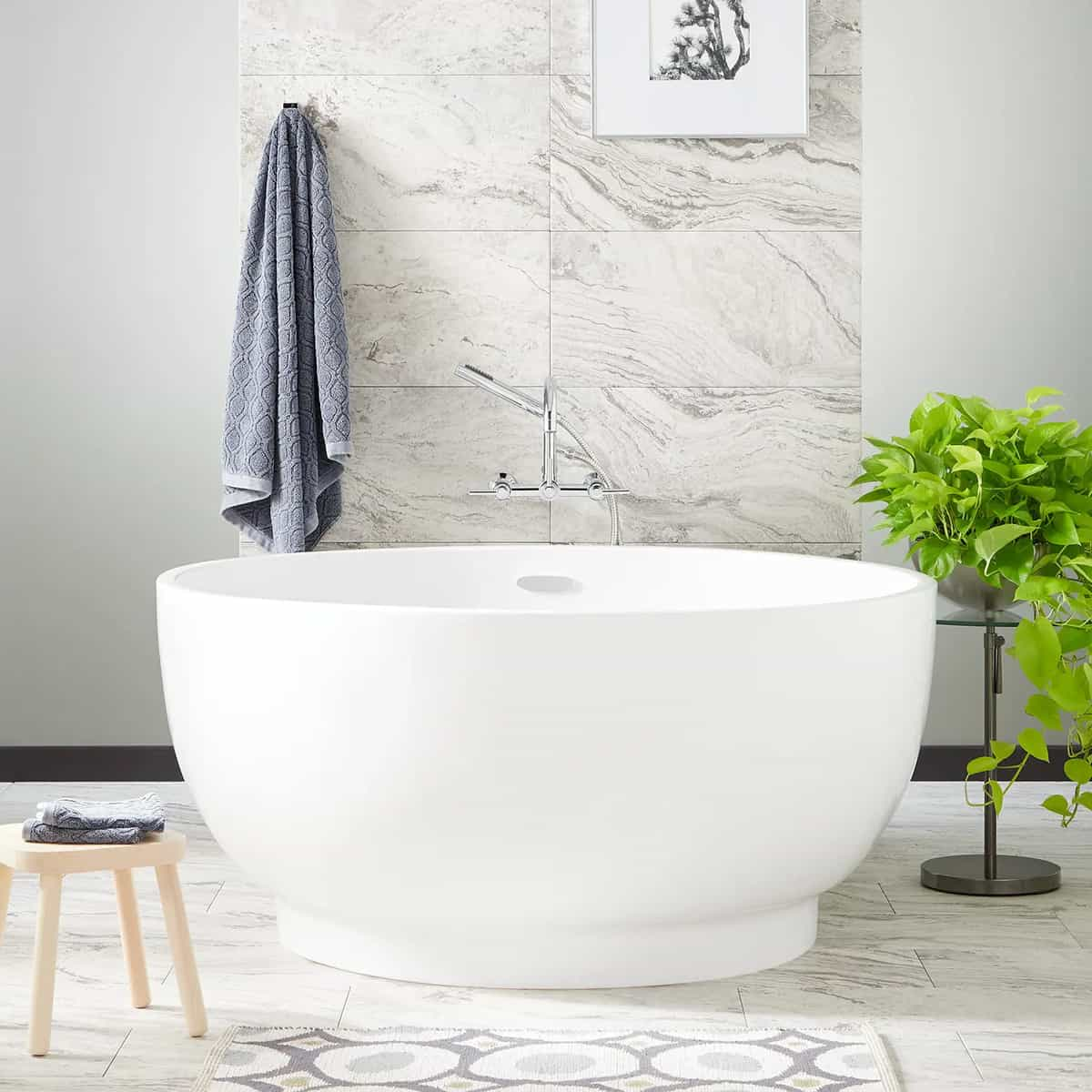 White Oval Acrylic Tub