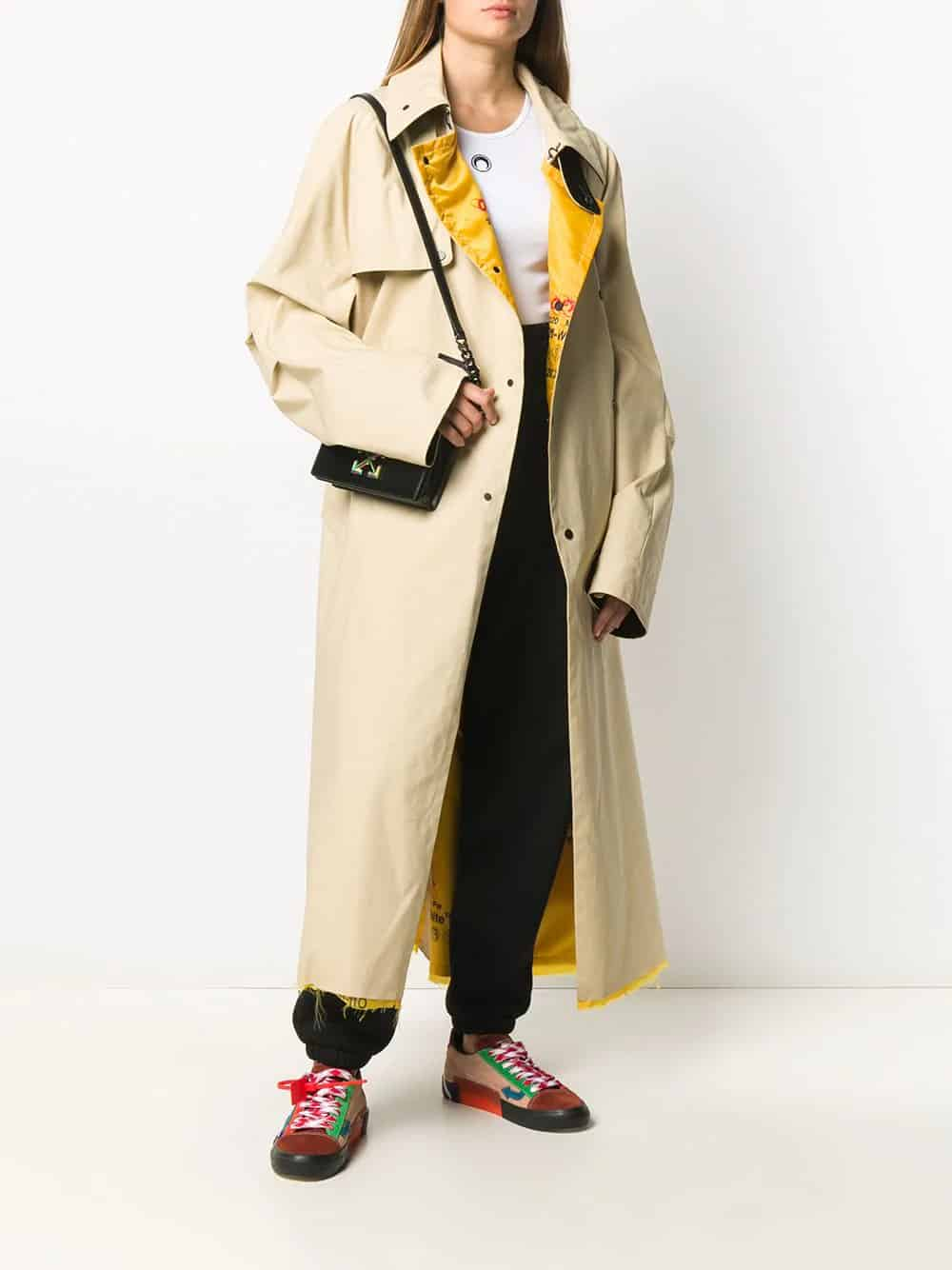 Off-White Patch-Embellished Oversized Trench Coat