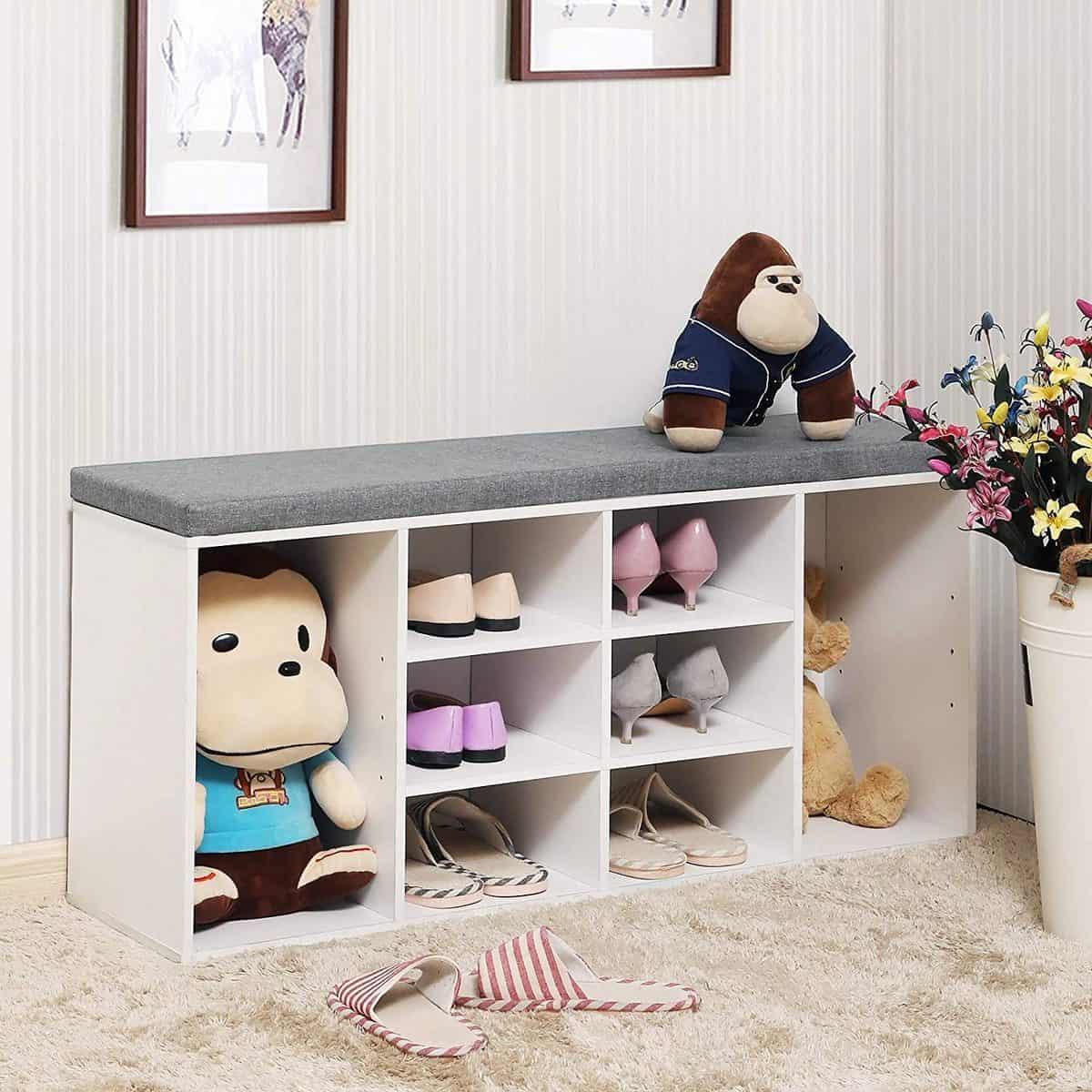Vasagle Cubbie Shoe Cabinet Storage Bench white
