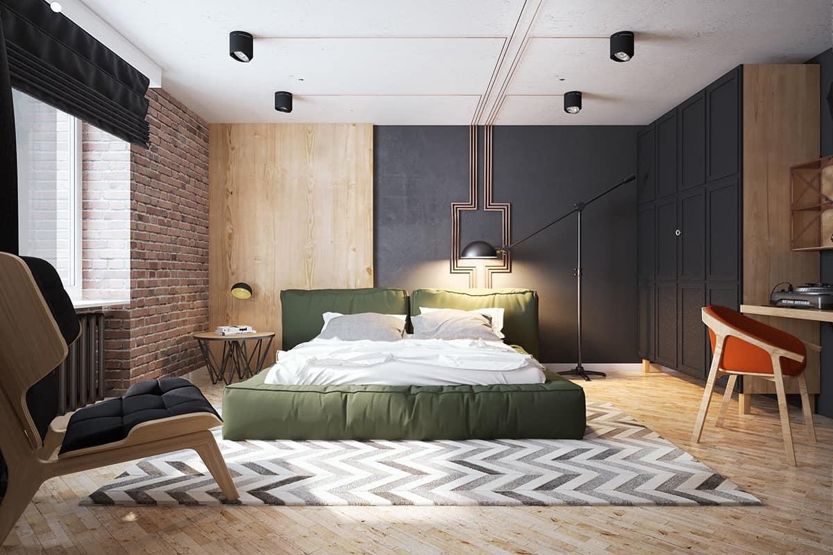 exposed brick bedroom