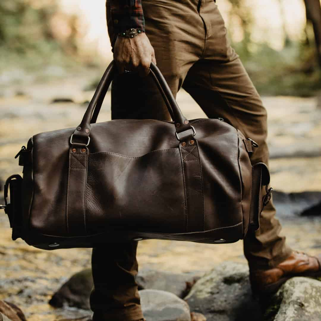 Leather Travel Duffel Bag