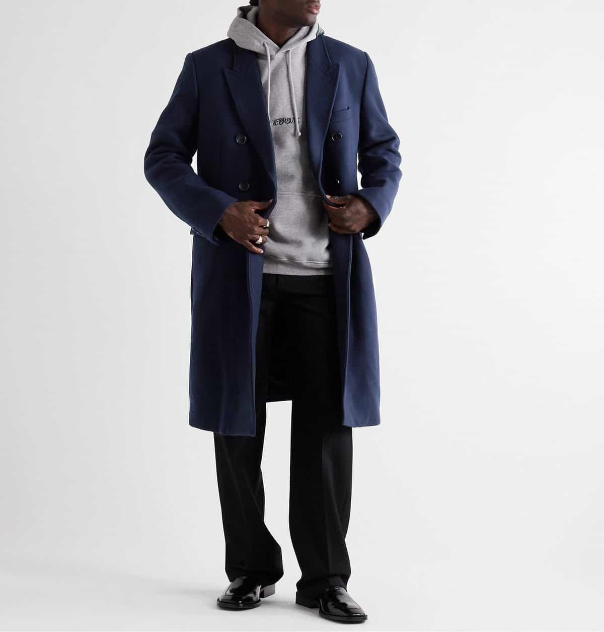 Vetements Double-Breasted Virgin Wool-Blend Coat